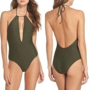 Ted Baker Army Green Halter Swimsuit